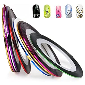Click Here For Cheap Set Of 10 Nail Tape Stripe Decoration Sticker Hologram For Sale