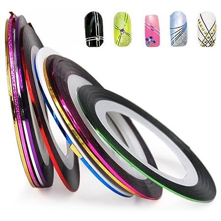 SET of 10 Nail Tape Stripe Decoration Sticker