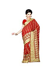 Indian Affluent Maroon Colored Embroidered Faux Georgette Saree By Triveni