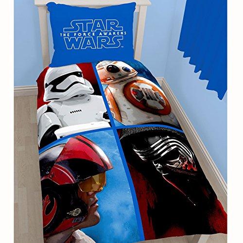 I 4 PROTAGONISTI Star Wars VII SET LETTO Parure 100% COTONE Copripiumino Federa REVERSIBILE 140x200cm UFFICIALE Originale