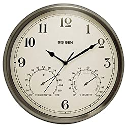 Westclox 49832 Indoor/Outdoor Clock with Temperature and Humidity Gauges