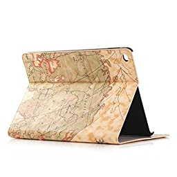 iPad Pro Case,Topchances PU Leather Protective Stand Cover for Apple iPad Pro 12.9 Inch -World Map Pattern (Light Yellow)