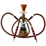 "NeverXhale Premium Series: 11"" 2 Hose Hookah Shisha Complete Set - Cheetah Leopard Tiger Animal Skin Art - Choose Your Beast (Golden Brown Cheetah)"