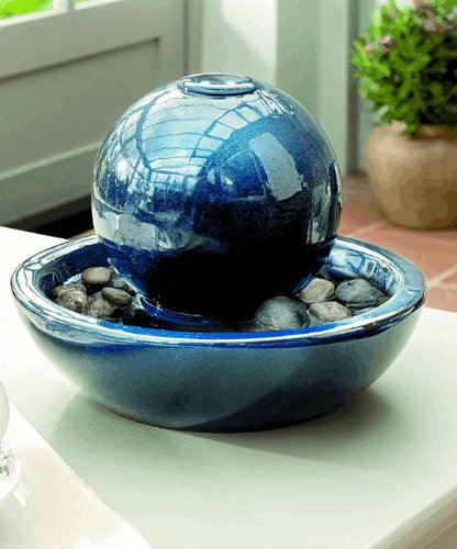 Ceramic Orb Water Feature with Lights