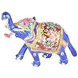 Rajgharana Handicrafts Multi Color Metal Meenakari Delightful Elephant - (10 Cm X 14 Cm)