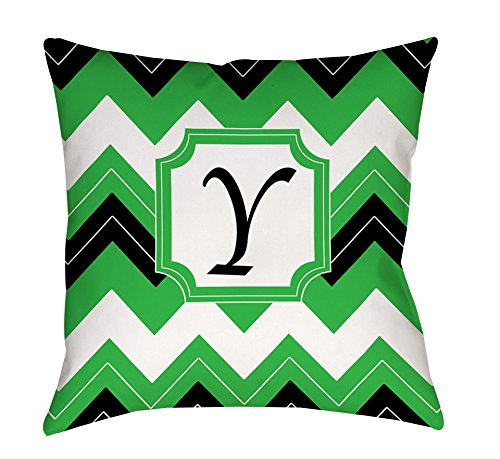 Thumbprintz Square Throw Pillow, 14-Inch, Monogrammed Letter Y, Black Chevron front-470571