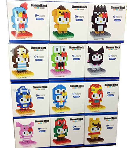 [Hello Kitty Toys Nanoblock Building Set San-X Micro Nano Blocks Games 12 Set Collection Cute Cat Build Kits Gift with Original] (Giraffe Spotted Plush Toddler Costumes)