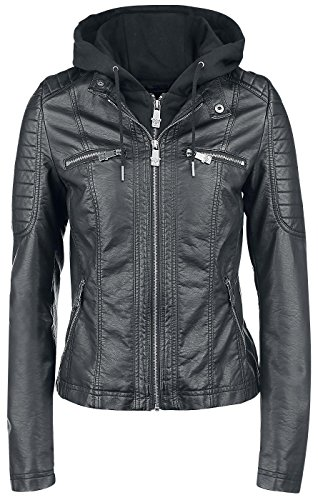 Black Premium by EMP Hooded Faux Leather Jacket Giacca donna nero XXL