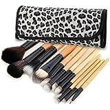 TOOGOO(R) 12 PCS Makeup Cosmetic Toiletry Eyeshadow Powder Brush Set Kit+Case