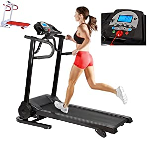 New 12km/hr Incline Electric Treadmill With Built In Speakers For SmartPhone Neatly Folds Away (Black)