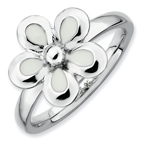 Sterling Silver Stackable Expressions Polished White Enameled Flower Ring - Size 8 - JewelryWeb