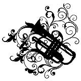 Wandtattoo-Trompete-Instrument-Musik-Wanddesign-Wanddekoration-Jugendzimmer-Wand-Tattoo-Design-Dekoration