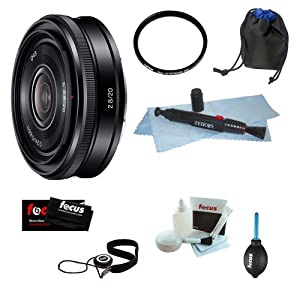 Sony SEL-20F28 SEL20F28 E-Mount 20mm F2.8 Prime Wide Angle Lens Bundle with Protection Filter + Lens Pouch + Lens Cleaning Lens Pen and Accessories