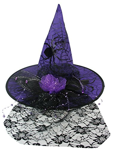 Fancy Black Spiderweb Net Purple Witch Hat [14697C]