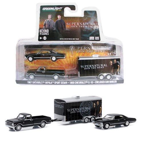 set-chevrolet-impala-sport-sedan-1967-supernatural-schwarz-mit-chevrolet-c-10-1968-und-anhanger-car-