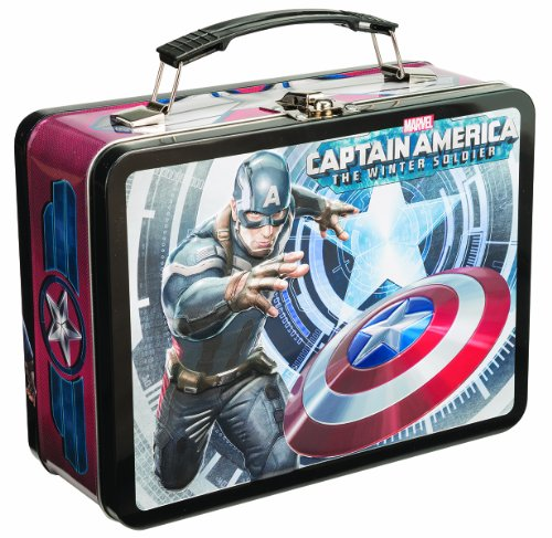 Vandor 26370 Marvel Captain America Winter Soldier Large Tin Tote, Blue, Red, And White front-327478