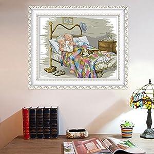 Joy Sunday Stamped Cross Stitch kits- Cross Stitch Pattern The Old Married Couple with 11CT Printed Fabric DMC ,Cross-stitch Hand Embroidery Kit Needlework DMC 23''x18'' (Tamaño: 11CT Stamped)