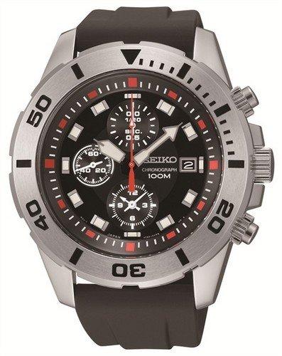 SEIKO [Seiko] Watch Seiko SEIKO overseas model imports chronograph stainless steel 100 M waterproof dive diver date display watch watch black