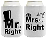 Wedding Coolie Mr Mrs Top Hat Tiara Bridal Shower Bachelorette Party Gag Gift 2 Pack Can Coolie Drink Coolers Coolies Premium Full Color