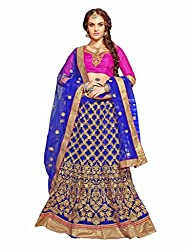 AASVAA Womens Beautiful Heavy Blue Embroidered Lehenga Choli