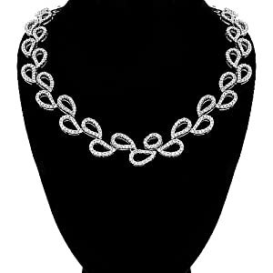 14K White Gold Womens Diamond Choker Necklace 4.06 Ctw