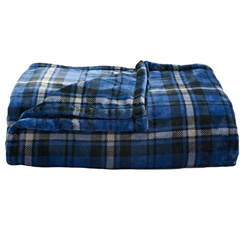 Soft oversized Microplush Blanket, Blue-Gray Plaid (Big Blanket compare prices)