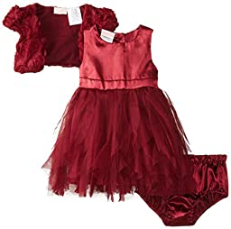 Nannette Baby Girls\' 3 Piece Chiffon Mesh Dress Shrug and Panty, Red, 12 Months