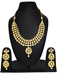 Gold Tone Jewellery Kundan Bridal Women Neckalce Set