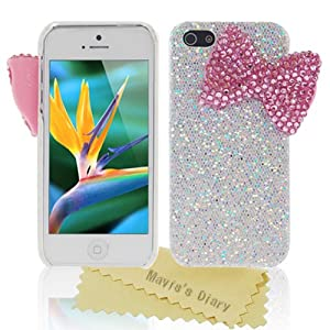Bling Handmade 3D Stylish Big Pink Bow Shining Back Case Cover for Apple Iphone 5 5G