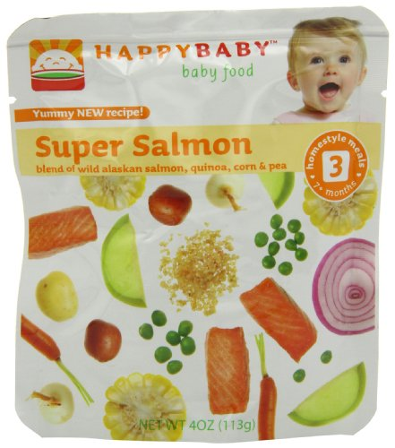 Happy Baby Organic Baby Food 3 Homestyle Meals, Super Salmon, 4-Ounce Pouches (Pack of 16)