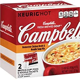 Campbell\'s Fresh Brewed Soup Broth K-cup Pods & Noodle Packets, Variety (Pack of 2), Southwest Style Chicken & Homestyle Chicken Broth & Noodle Soup Mix