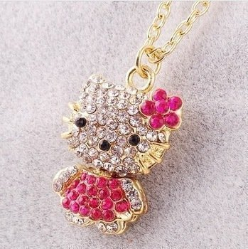 Hello Kitty Rhinestone Necklace Jewelry-Limited Edition - 1