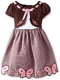 Youngland Little Girls' Pink Brown Scalloped Hem Dress