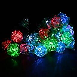 Saver Solar Powered LED Garden Yard Rose String Light Decor Lamp