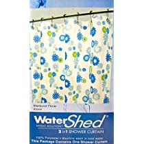Watershed 2 in 1 Shower Curtainwhite W/blue/lime Green Flowers.no Liner Needed