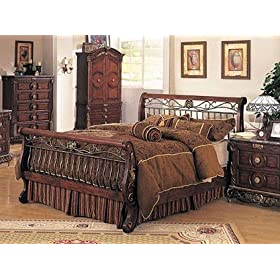 Bourdeax Brown Wood & Metal Queen Size Sleigh Bed