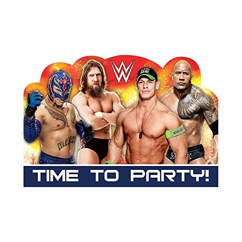 Amscan Grand Slammin' WWE Birthday Party Postcard Invitation Cards (8 Piece), Multi, 4 x 6""