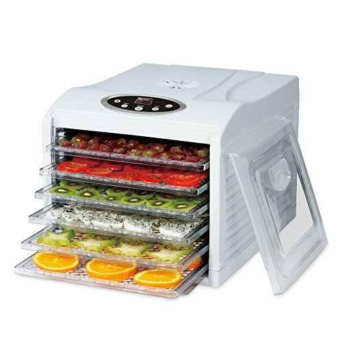 MAGIC MILL Electric Countertop Food Dehydrator, 6 Drying trays, Digital 8 Preset Temperature controls and timer, Airflow Circulation Technology, 95º F To 158 º F Includes 6 Fine Mesh Trays, White (Food Dryer Dehydrator compare prices)