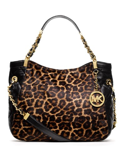 Michael Kors Susannah Medium Shoulder Tote In Cheetah Natural