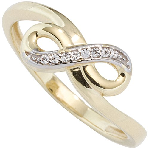 JOBO-Damen-Ring-Unendlichkeit-333-Gold-Gelbgold-teilrhodiniert-mit-Zirkonia-Goldring-Gre-52