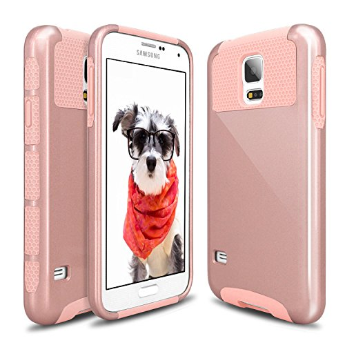 Galaxy S5 Case, S5 Case, Hinpia® 2 in 1 Hybrid Dual Layer Slim Hybrid Protective Shockproof Slim Hard PC + Soft TPU Case Cover for Samsung Galaxy S5 SV i9600 (Rose Gold/Rose Gold) (Galaxy S5 Protective Case Gold compare prices)