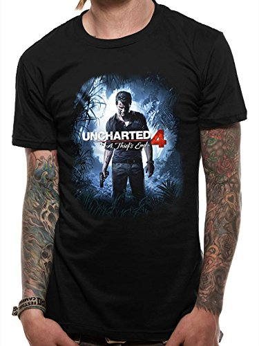 CHARACTER Uncharted 4-Thief Cover, T-Shirts Uomo, Black, Small