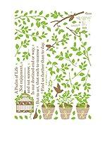 Ambiance Live Vinilo Decorativo Tree, birds and poem Multicolor