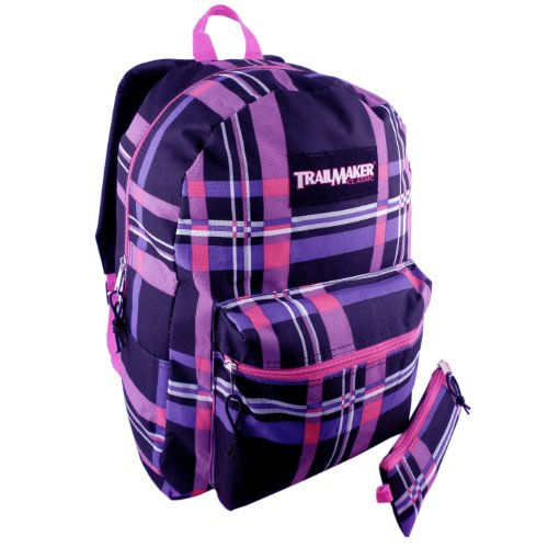 ... Pink and Purple Plaid TrailMaker Backpack Student School Book Bag