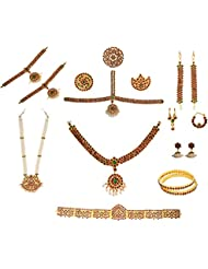 GirlZ! Multicolor Brass Metal Bharatanatyam Dance Set (10 Items - 17 Pieces) With Red And Green Quality Stones