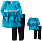 Dollie & Me Girls 2-6X Tunic and Legging Set, Teal, 3T