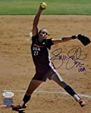Jennie Finch Team USA 8x10 Pitching PF Photo - JSA-W Auth Blue