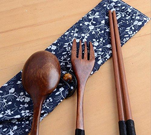 Ecloud Shop® Baguettes en bois faits à la main, cuillère et fourchette Set avec table Sac