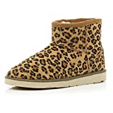 RIVER ISLAND BROWN LEOPARD PRINT FAUX FUR LINED BOOTS - UK SIZE 6 - SOLD OUT IN STORE