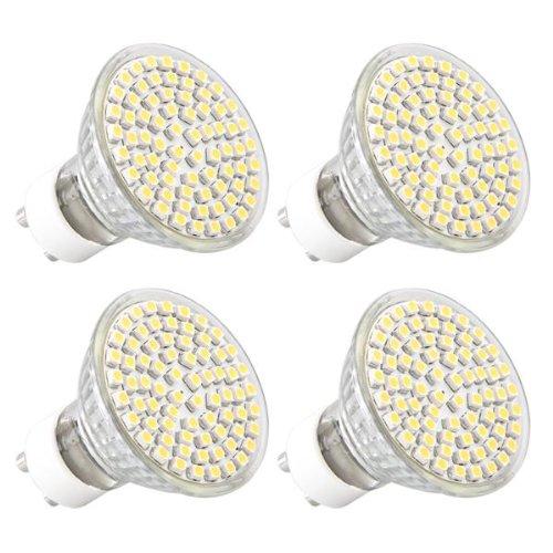 4X GU10 Bombilla 72 3528 SMD LED luz Lámpara Blanco Cálido 3600K